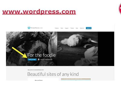 WordPress.com sign up page